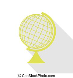 Earth Globe sign. Pear icon with flat style shadow path.