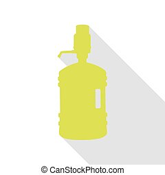 Plastic bottle silhouette with water and siphon. Pear icon...