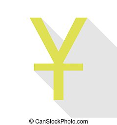 Chinese Yuan sign. Pear icon with flat style shadow path.