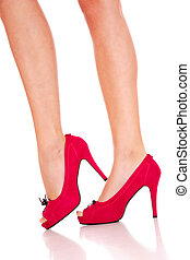 Beautiful female legs - Beautiful female legs wearing red...