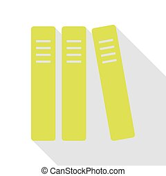 Row of binders, office folders icon. Pear icon with flat...
