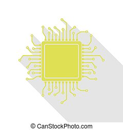 CPU Microprocessor illustration. Pear icon with flat style...