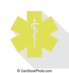 Medical symbol of the Emergency or Star of Life. Pear icon...