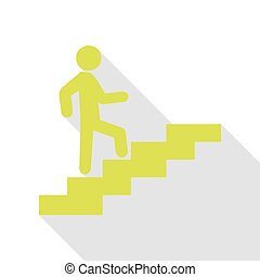 Man on Stairs going up. Pear icon with flat style shadow path.