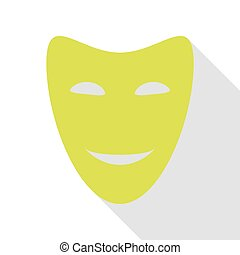 Comedy theatrical masks. Pear icon with flat style shadow...