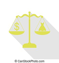 Dress and dollar symbol on scales. Pear icon with flat style shadow path.
