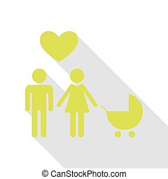 Family symbol with pram and heart. Husband and wife are kept each other`s hands. Love. Pear icon with flat style shadow path.