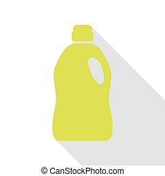 Plastic bottle for cleaning. Pear icon with flat style...