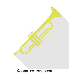 Musical instrument Trumpet sign. Pear icon with flat style...