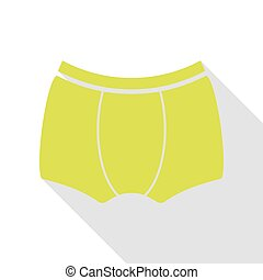 Man`s underwear sign. Pear icon with flat style shadow path.