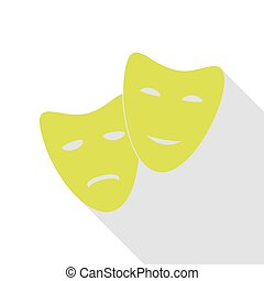 Theater icon with happy and sad masks. Pear icon with flat...