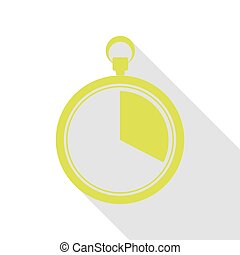 The 20 seconds, minutes stopwatch sign. Pear icon with flat style shadow path.