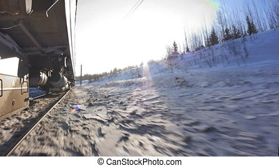the movement of trains on the railway on the TRANS-Siberian...