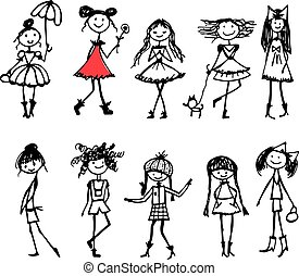 Fashion girls collection, sketch for your design