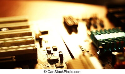 PC parts macro shot abstract background. dolly tracking....