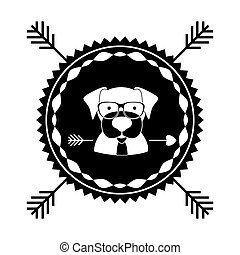 emblem dog hipster hunter city icon
