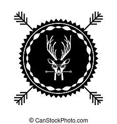 emblem deer hipster hunter city icon