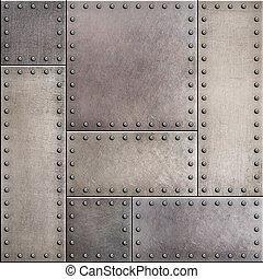Rusty metal plates with rivets seamless background or texture