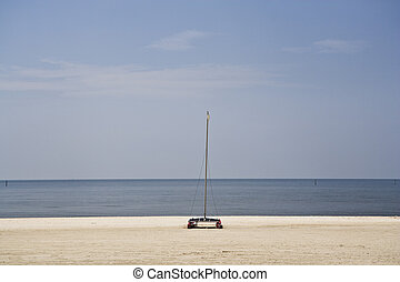 Empty Beach and Boat, Gulf Coast - An empty, clean beach and...