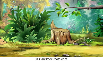 European Hedgehog Goes to the Forest. Handmade animated...