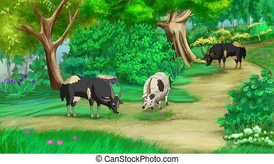 Domestic Goats Grazing in a Meadow. Handmade animation,...