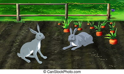Hares protect carrots in the garden. Handmade animated...