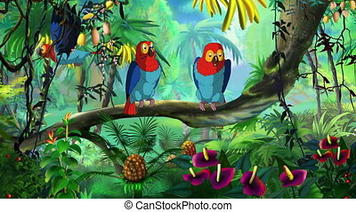 Macaw Parrot - Colorful Macaw Parrots sitting on a branch....