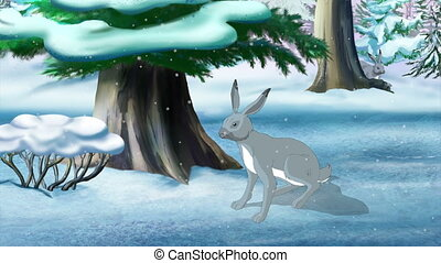 Bunny (Hare) Hiding Behind a Tree in Winter. Handmade...