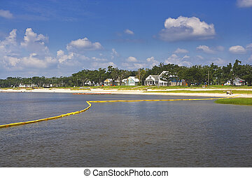 Yellow Oil Boom, Gulf Coast - Yellow oil boom protects a...
