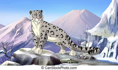 Snow Leopard in the Asian mountains. Full color handmade...