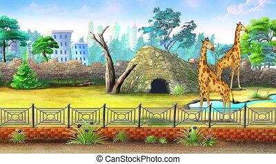 Giraffes in a Zoo waiting for a Children. Handmade animated...