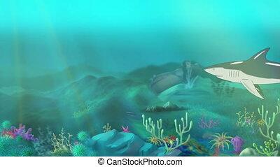 Shark Attack - Big shark swimming in a ocean. Sudden shark...