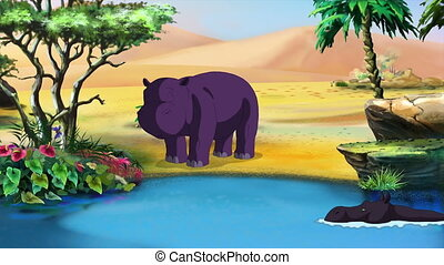 Little African Hippo - Tiny Hippo resting at the lake shore....
