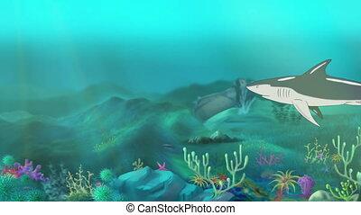 Shark Swimming - Big shark swimming in a ocean. Full color...