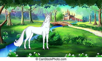 Fairy Tale Unicorn in a Magical Forest . Handmade animated...