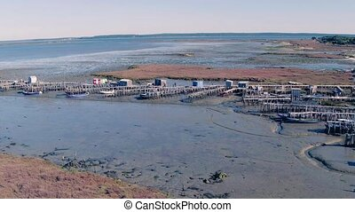 Aerial View of Old Fisherman Piers on the Sado Marshlands,...