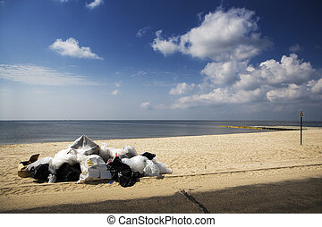Trash & Closed Beach, Gulf Coast - A closed beach with oil...