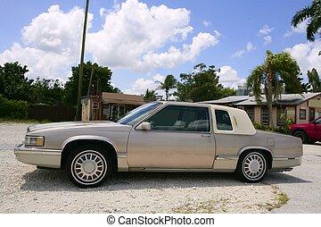 vieilli, classique, voiture, beige, couleur, sous, bleu,...