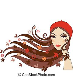 autumn woman - Woman with autumn leaves in her hair, vector
