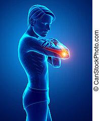 Men Feeling Elbow pain - 3d Illustration of Men Feeling...