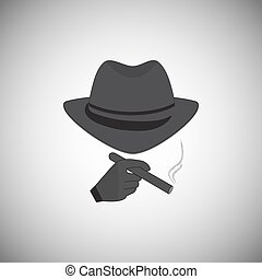 Silhouette of a man in a hat with a cigarette in his hand -...
