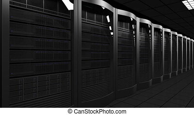 Modern server room dolly seamless loop 4K animation. Cloud...