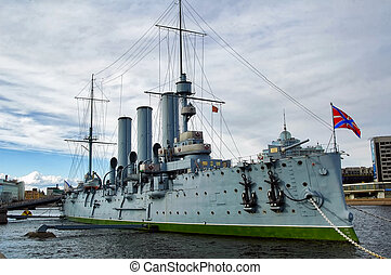 Cruiser Aurora in the Saint-Petersburg. Russia -...