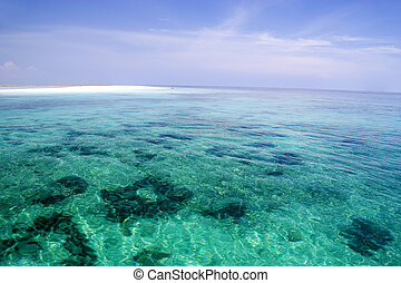 Shallow Open Sea and Sand Bar - Image of a shallow open sea...