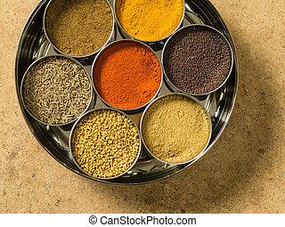 Indian masala box closeup - Photo of a Masala box containing...