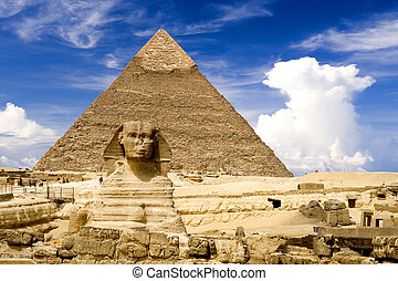 Egyptian Sphinx and Pyramid - The Sphinx and Chephren...