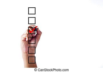 Businessman hand checking mark on checklist with marker over white