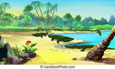 Nile Crocodile on a River Bank. Handmade Animation