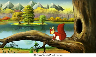 Red Squirrel - Cute Eurasian Red Squirrel Sitting on Branch...