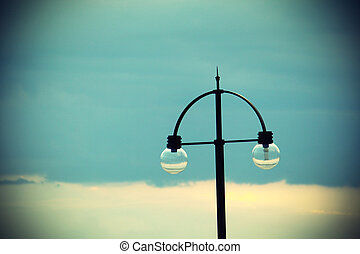 Street light on evening sky